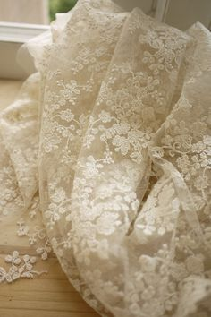 Beige Wedding Fabric French Embroidered Lace Bridal by fabricmade, $18.90