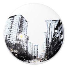 Handle of door photograph of city the night ceramic knob - cyo diy customize unique design gift idea perfect