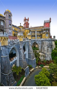 Pena Castle in Sintra, Portugal. Just like a disneyland castle.This is actually Pena National Palace in Sintra that served as a summer retreat for Portegese monarchs in and century. In 1995 the palace became a World Heritage site. Sintra Portugal, Ericeira Portugal, Spain And Portugal, Oh The Places You'll Go, Places Around The World, Places To Travel, Places To Visit, Around The Worlds, Algarve