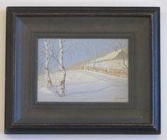 GULBRAND SETHER b.1869 CHICAGO ANTIQUE SNOWSCENE BIRCH RANCH LANDSCAPE PAINTING