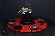 Large lazy susan windmill  with 12 detachable glasses in dynamic black & red color combination designed by www.the-glass-co.com Code: S4-C2-18-SR32 Ask us at info@myglassstudio.com Red Color Combinations, Lazy Susan, Windmill, Centerpieces, Coding, Glasses, Black, Design, Eyewear
