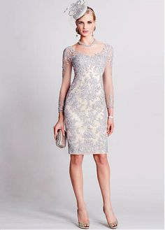 Buy discount Wonderful Tulle V-neck Neckline Knee-length Sheath Mother Of The Bride Dresses With Beaded Lace Appliques at Magbridal.com