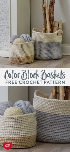 Color Block Baskets free crochet pattern in Red Heart Classic yarn. Use these cr. Color Block Baskets free crochet pattern in Red Heart Classic yarn. Use these crochet baskets for s Crochet Home, Crochet Crafts, Crochet Projects, Free Crochet, Crochet Ornaments, Crochet Snowflakes, Diy Crochet Basket, Crochet Basket Pattern, Modern Crochet Patterns