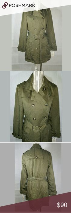 NWT Womens GH Bass Company Lined Trench Coat Belt NWT Womens GH Bass Company Lined Trench Coat Belt Olive Army Green Medium $180  Gorgeous, lined coat.  20 inches pit to pit. 34 inch waist. 34.5 inches long.  LB Bass Jackets & Coats Trench Coats