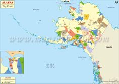Alaska Map - This map contains all Alaska postal codes assigned to its boroughs, census areas, towns and cities. Zip Code Map, Postal Code, Alaska, Canada, Coding, Usa, Beautiful, Programming, U.s. States