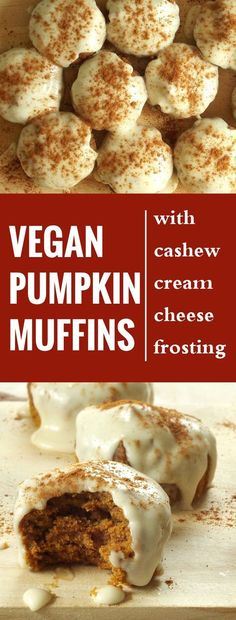 These vegan pumpkin muffins are rich, moist, packed with the flavors of pumpkin and fall spices, and topped with a creamy cashew cream cheese frosting.