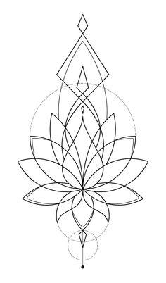 Resultat d'imatges de geometric lotus tattoo