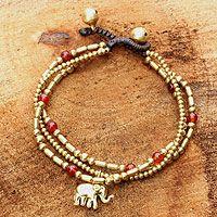 Carnelian beaded bracelet, 'Thai Elephant Charm' - Brass Bracelet Carnelian Gems Beaded Jewelry
