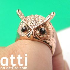 Cute Owl Wrap Around Animal Ring in Bronze with Ruby Rhinestone Eyes $8 #owls #birds #animals #jewelry #rings