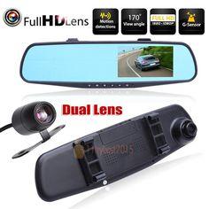 1080P HD Car Dash Camera Dual Cam Vehicle Front Rear DVR Lens Video Recorder US