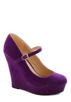 Quite a Gem Wedge - High, Faux Leather, Purple, Solid, Party, Work, Girls Night Out, Good, Platform, Wedge, Minimal, Mary Jane