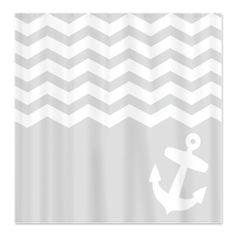Nautical Gray chevron anchor Shower Curtain. Kids' bathroom
