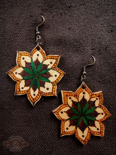 burned leather mandala earrings ~ livit vivid