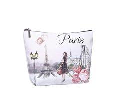 VINTAGE PARIS PRINT LADIES MAKE UP BAG PENCIL CASE WASH BAG ACCESSORY POUCH