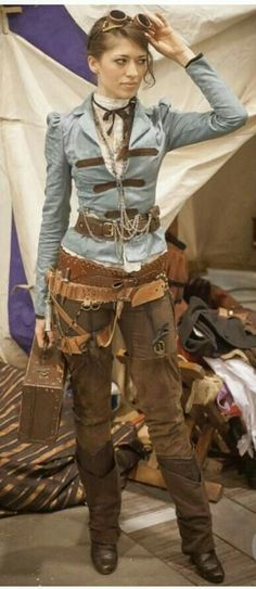 This costume is bit messy but the concept for steampunk pants works great with the jacket and blouse