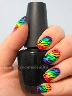 Rainbow ombre with zebra nails