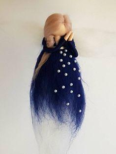 Your place to buy and sell all things handmade Wool Dolls, Felt Dolls, Dusty Pink Hair, Diy Wings, Felt Angel, Needle Felting Tutorials, Felt Fairy, Blue Fairy, Fairy Dress