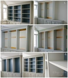 Trendy Home Office Bookshelves Diy Built Ins Home Office Shelves, Office Built Ins, Home Office Cabinets, Office Bookshelves, Built In Bookcase, Home Office Furniture, Diy Built In Shelves, Office Desk, Diy Bookcases