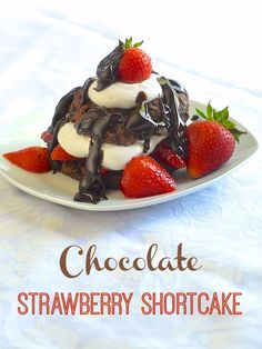 Search Description Chocolate Strawberry Shortcake - a great summer picnic or barbeque dessert. Homemade chocolate biscuits with macerated strawberries, vanilla whipped cream and chocolate ganache sauce.