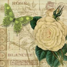 Láminas decoupage, mariposas, rosas, vintage
