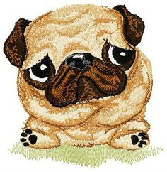 Pug-dog machine embroidery design. Machine embroidery design. www.embroideres.com