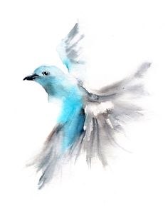 Bird art print, Flying blue tanager, blue grey minimalist watercolor print, bird painting art, tanager bird wall fine art print Art Print of Flying blue Tananger Aquarell malen drucken Watercolor Bird, Watercolor Animals, Easy Watercolor Paintings, Bird Paintings, Watercolor Tattoo, Art Original, Original Paintings, Original Gifts, Bird Illustration