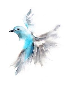 Flying Bird Watercolor Painting Art Print - Bird Art - Watercolor Painting - Bird Illustration - Wall Art, Sky Blue by CanotStopPrints on Etsy https://www.etsy.com/listing/219247032/flying-bird-watercolor-painting-art