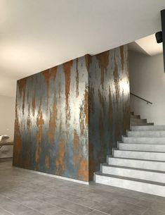 ideas for art deco interior design lobby Faux Painting Walls, Wall Painting Decor, Faux Walls, Textured Walls, Metal Walls, Wall Finishes, Wall Treatments, Home Deco, Interior Design Living Room
