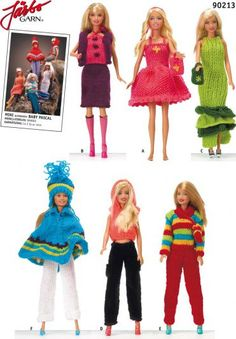 Give your Barbie dolls some knitted love. Barbie Knitting Patterns, Knitting Dolls Clothes, Crochet Barbie Clothes, Barbie Patterns, Knitted Dolls, Doll Clothes Patterns, Barbie Wardrobe, Barbie Dress, Barbie Doll