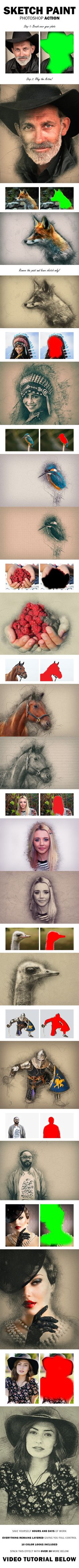 Sketch Paint Photoshop Action - Photo Effects Actions