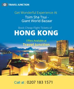#HongKong is really a nice place where tourists experience more than what they are expecting from their tour. #TsimShaTsui is one of the best places of Hong Kong where tourists get stunned with its giant bazaar. Get #cheapflight deal for Hong Kong. Call at: 0207 183 1571