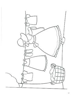 Sunbonnet Sue hanging laundry - embroidery pattern or coloring page