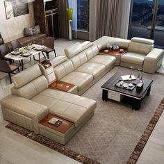 Genuine Leather Couches, Leather Sofa Sale, Leather Sectional Sofas, Cow Leather, Corner Sofa Design, Living Room Sofa Design, Latest Sofa Designs, Wooden Sofa Set Designs, Furniture Sofa Set