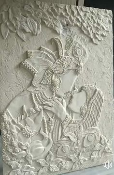 Discover thousands of images about Relief work Clay Wall Art, Mural Wall Art, Mural Painting, Ceramic Painting, Ceramic Art, Murals, Oil Paintings, Ganesha Painting, Tanjore Painting