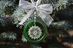 Recycled Glass Ornament Snowflake Ornament by WhiteRoosterShoppe