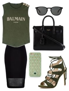 """Green and Black"" by anaisonedirection ❤ liked on Polyvore"