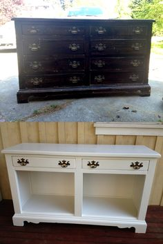 I got this dresser from the garage of a fellow free-cycler. Turning it into a buffet cost me about ten hours and forty bucks. I no longer have to set up folding tables to have food service on my deck!