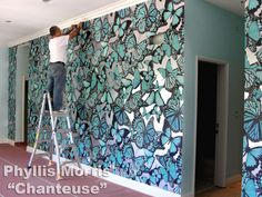 #butterfly #wallpaper #metallic #WallCovering #butterflies #turquoise