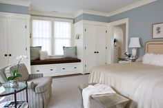 Krista always wanted a window seat. Sorry sweet girl! closets added to either side of the window plus a window seat - Palisades, NW DC - Anne Decker Architects Bedroom Cabinets, Bedroom Wardrobe, Master Bedroom Closet, Bedroom Design, Bedroom Built Ins, Home Decor, Build A Closet, Remodel Bedroom, Trendy Bedroom
