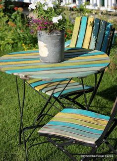Beyond The Picket Fence: Ode To Paint (rustic outdoor furniture fence) Painted Outdoor Furniture, Painting Wooden Furniture, Painted Chairs, Recycled Furniture, Colorful Furniture, Rustic Furniture, Furniture Decor, Industrial Furniture, Painted Picnic Tables