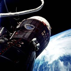 """""""What a beautiful spacecraft,"""" said Gemini IX pilot Eugene Cernan during his two hour, eight minute spacewalk on June 5, 1966. He took this wide-angle photograph looking back at the window where command pilot Tom Stafford was watching.  Image Credit: NASA/Eugene Cernan"""