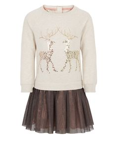 Fancy and festive, this adorable Ruby Reindeer dress for girls is great for the holidays. If the sequinned reindeer motif wasn't sparkly enough, the skirt is covered with a glittery organza overlay.