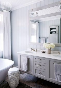 Style at Home - bathrooms - dove gray sink vanity, gray dual sink vanity, gray vanity, polished nickel cabinet pulls, cabinet pull towel bar...