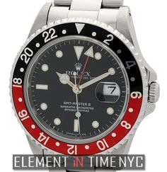 #Rolex GMT-Master II   Stainless Steel Red/Black 'Coke' Bezel Circa 1991  16710