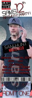 SAM HUNT TICKET STYLE INVITATIONS (WITH ENVELOPES)
