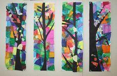 Sur fonds de papiers de soie colorés, des arbres en papier noir ont été collés. Puis les enfants ont dessiné des feuilles et fleurs, les ont découpées et collées sur les branches et les troncs.