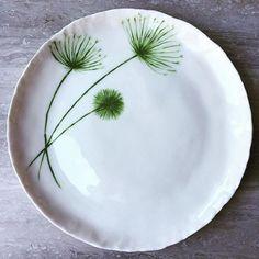 Porcelain dandelion plate #handmade #ceramics #pottery