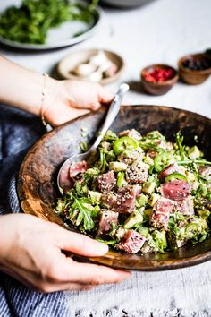 This Asian Sesame Crusted Seared Tuna Salad is a colorful and vibrant dish served with pan-seared tuna steaks, sliced avocado, and homemade ahi tuna salad dressing. #ahitunasalad #ahituna #sesametunasalad #sesame #foolproofliving Pan Seared Tuna Steak, Seared Tuna Salad, Ahi Tuna Salad, Tuna Steaks, What Is Healthy Food, Healthy Foods To Eat, Healthy Eating, Healthy Recipes, Seafood Recipes