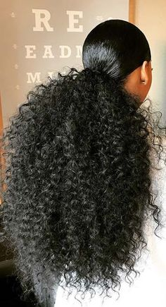 39 Trendy Weave Ponytails Hairstyles for Black Women To Copy - Hair - Hair Designs Curly Ponytail Weave, Hair Ponytail Styles, Weave Ponytail Hairstyles, Sleek Ponytail, Curly Hair Styles, Natural Hair Ponytail, Ponytails For Black Hair, Hair Styles With Weave, Weave Curls