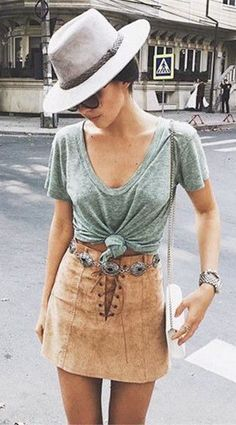 #summer #fashion leather skirt + green